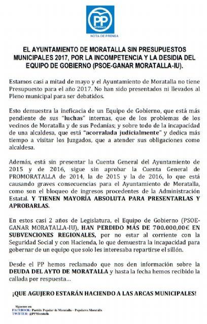 El PP denuncia que el ayuntamiento de Moratalla no tiene presupuestos municipales para el 2017 - 1, Foto 1