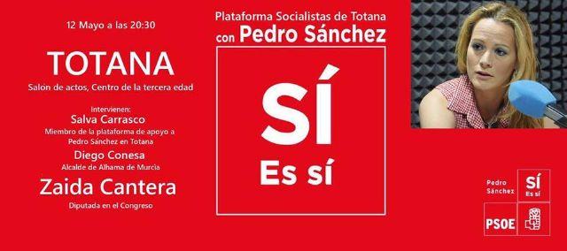 La diputada nacional Zaida Cantera estará este viernes en Totana en un acto de apoyo a la candidatura de Pedro Sánchez a Secretario General del PSOE, Foto 1