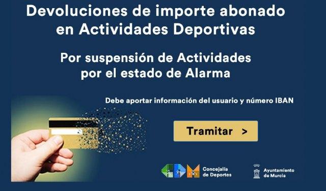 Murcia devuelve a los usuarios del programa deportivo docente el importe pagado desde la declaración del estado de alarma - 1, Foto 1
