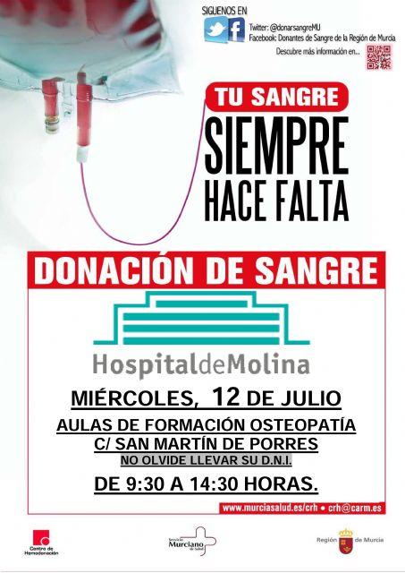 #tiposdesangre 12 de julio: Campaña de donación de sangre en el Hospital de Molina - 1, Foto 1