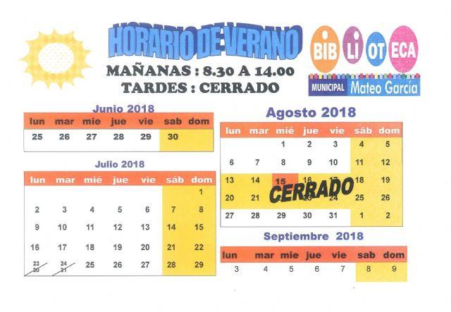 La Biblioteca Municipal Mateo Garcia cierra el próximo lunes 13 de agosto y abrirá el día 27 de este mismo mes, Foto 1