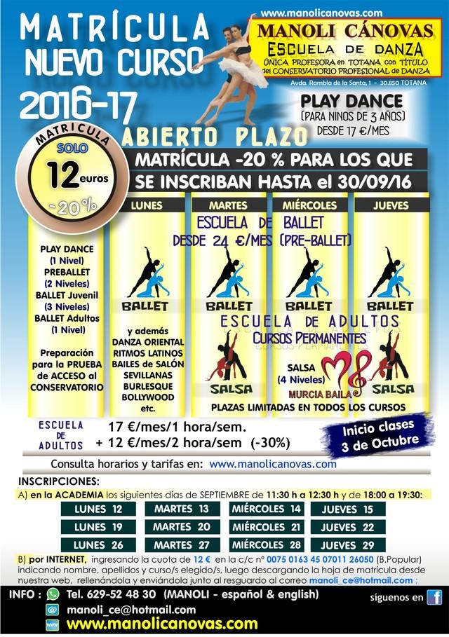 The School of Dance Manoli Canovas open enrollment period for the course 2016-2017