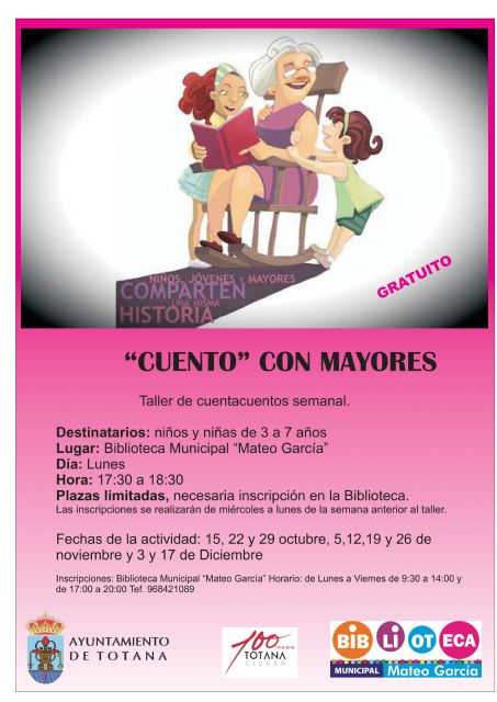 "The registration period to participate in the Taller de Talcuentos Semanal ""Cuento con mayores"" is now open"