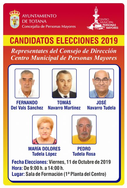 Tomorrow the elections are held for the new Board of Directors of the Municipal Center for the Elderly, from 9:00 a.m. to 2:00 p.m.