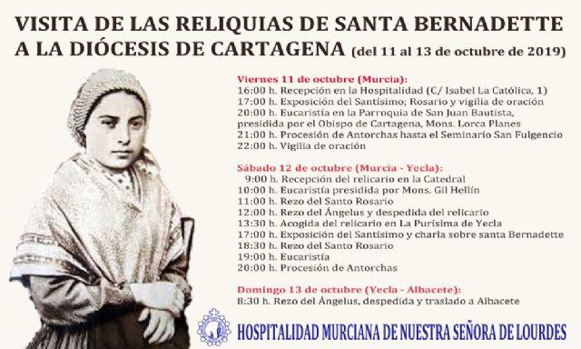 Las reliquias de santa Bernadette llegan mañana a Murcia - 1, Foto 1