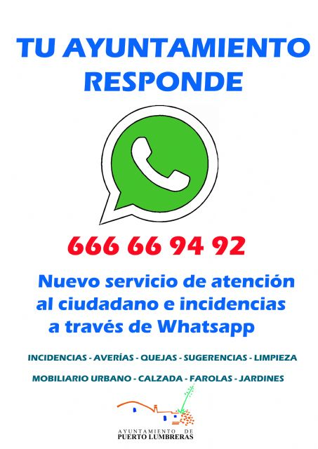 Los ciudadanos de Puerto Lumbreras podrán comunicar incidencias y averías a través de Whatsapp - 1, Foto 1