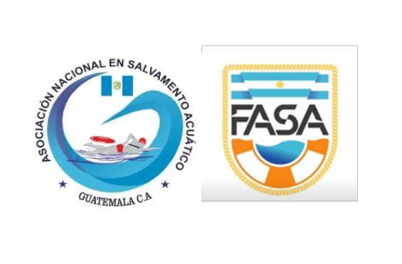 Logotipos de la Asociación Nacional en Salvamento Acuático de Guatemala y de la Federación Argentina de Salvamento Acuático., Foto 1
