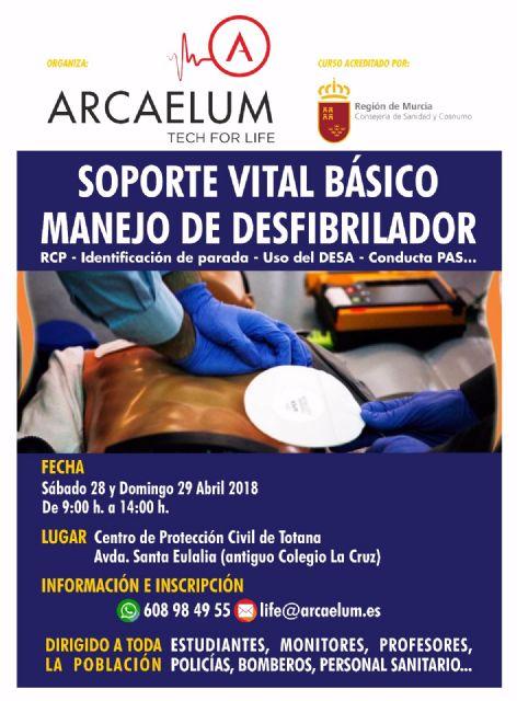 Organizan un Curso de Soporte Vital Básico (SVB) con manejo de Desfibrilador que se celebrará los días 28 y 29 abril