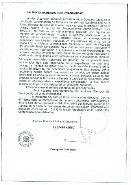La Junta Electoral da la razón a Mariola Guevara y anula la sanción provocada por una denuncia del PP de Alhama, Foto 1