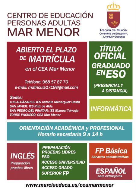 Abierto el plazo de matrícula del Centro de Educación de Adultos de Torre Pacheco - 2, Foto 2