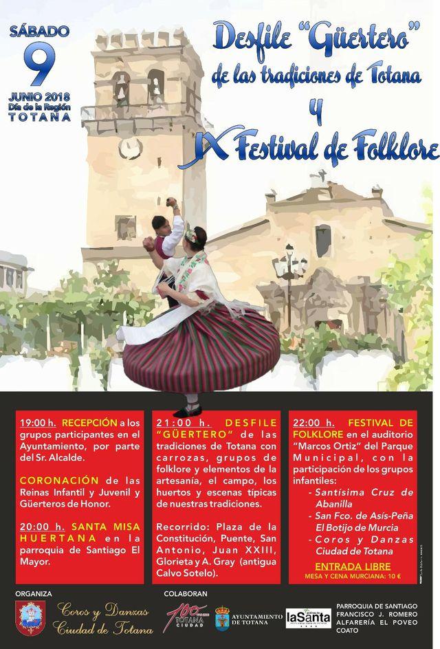 "Totana will host the Ninth Folklore Festival and Costumbrista Parade ""Güertero"" on June 9 - 4"