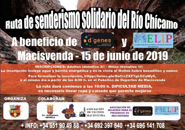 La Ruta de Senderismo solidario del Río Chícamo, actividad solidaria con D´Genes y AELIP, se celebrará el próximo 15 de junio - 1, Foto 1