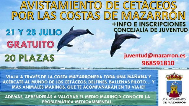 Juventud programa salidas en barco para avistar cetáceos en la bahia de Mazarrón, Foto 1