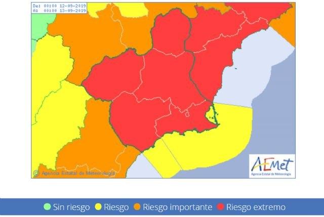Meteorología advierte de que mañana la lluvia podría alcanzar los 70 litros en una hora y emite aviso de nivel rojo, Foto 1