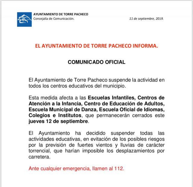 Se suspenden las clases el jueves 12 de septiembre en Torre Pacheco - 1, Foto 1