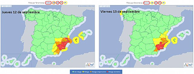 The red warning is activated in the Region of Murcia due to the possibility of torrential rains