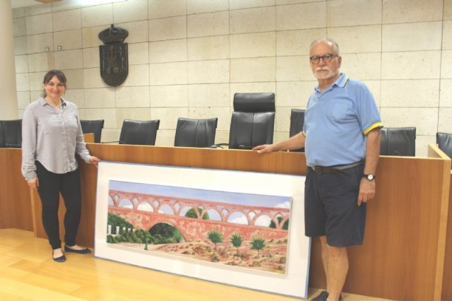 The versatile artist Alfonso Gallego donates a painting to the City of Totana