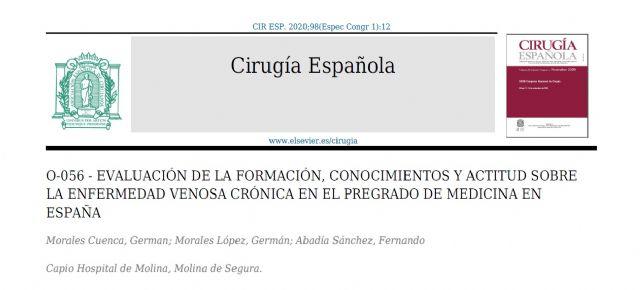 Especialistas en Medicina Vascular del Hospital de Molina demuestran que la infravaloración clínica de la Enfermedad Venosa Crónica (EVC) puede ser causada por un déficit en la formación de pregrado - 1, Foto 1