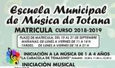 La Escuela Municipal de Música de Totana abre el plazo de matrícula para el curso 2017/2018, del 10 al 21 de septiembre