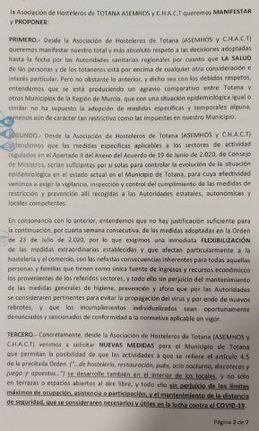 Comunicado de la asociación de hosteleros de Totana ASEMHOS y C.H.A.C.T - 2