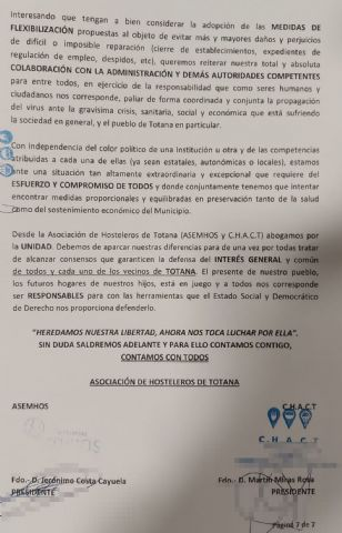 Comunicado de la asociación de hosteleros de Totana ASEMHOS y C.H.A.C.T - 7