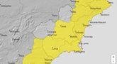 Meteorolog�a ampl�a sus avisos para mañana por lluvia de hasta 25 litros por metro cuadrado en una hora y tormentas