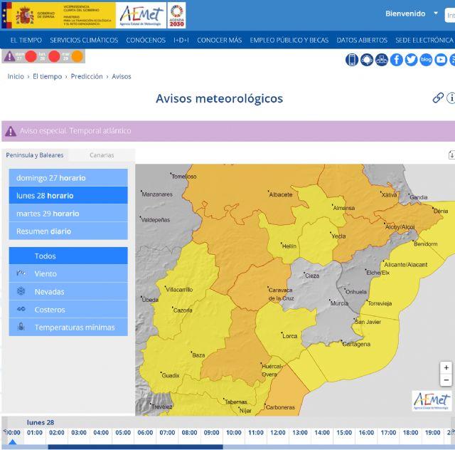 Meteorología amplía fenómeno adverso de nivel amarillo por viento a Valle de Guadalentín, Lorca y Águilas para mañana