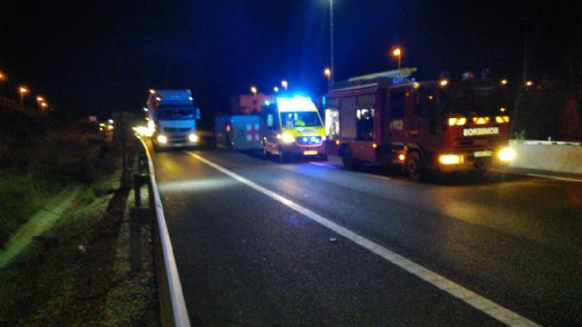 Trasladan al hospital a dos heridos en accidente de tráfico ocurrido anoche en la A-7, en Librilla - 1, Foto 1