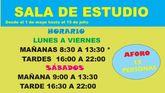 A partir del 1 de mayo y hasta el 10 de julio se retoma el horario de los sábados en la Sala de Estudio del Centro Sociocultural 'La Cárcel'