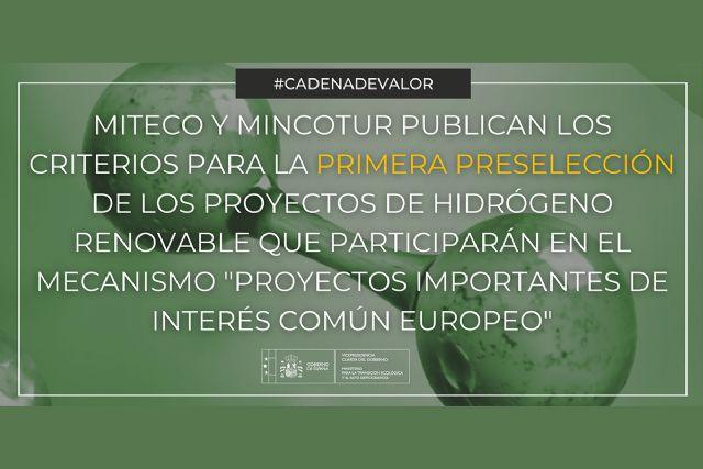 El MITECO y el MINCOTUR publican los criterios para la primera preselección de los proyectos de hidrógeno renovable que participarán en el mecanismo Proyectos Importantes de Interés Común Europeo - 1, Foto 1