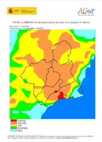 El nivel de riesgo de incendio forestal previsto para hoy lunes es muy alto en casi toda la Región