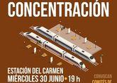 El alcalde asiste a la manifestación por el presumible cierre de las líneas ferroviarias Murcia-Lorca-Águilas ante el avance de las obras de soterramiento y plataforma de la Alta Velocidad