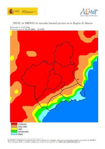 El nivel de riesgo de incendio forestal previsto para hoy miércoles es EXTREMO o MUY ALTO en la mayor parte de la Región de Murcia - 1, Foto 1