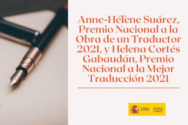 Anne-Hélène Suárez, Premio Nacional a la Obra de un Traductor 2021, y Helena Cortés Gabaudán, Premio Nacional a la Mejor Traducción 2021 - 1, Foto 1