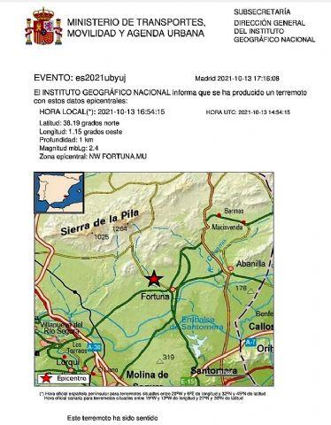 El Instituto Geográfico Nacional informa de movimiento sísmico de magnitud 2.4 en el Noroeste de Fortuna - 1, Foto 1