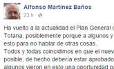 Alfonso Martínez Baños hace una reflexión pública en redes sociales sobre la actualidad del PGOM
