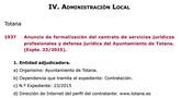 El BORM publica hoy el anuncio de formalización del contrato de servicios jurídicos profesionales y defensa jurídica del Ayuntamiento de Totana