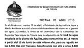 Unos 4.800 regantes se beneficiarán del convenio entre ACUAMED y la Comunidad de Regantes de Totana