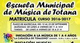 El plazo de matrícula de la Escuela Municipal de Música para el curso 2016/2017 es del 12 al 23 de septiembre, ambos inclusive