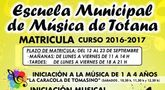El plazo de matr�cula de la Escuela Municipal de M�sica para el curso 2016/2017 es del 12 al 23 de septiembre, ambos inclusive