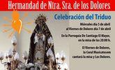 La Hermandad de Ntra. Sra. de los Dolores celebrará el Triduo del 5 al 7 de abril