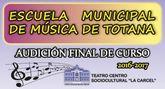 Hoy comienza el programa de audiciones en diferentes disciplinas musicales con motivo de la clausura del curso 2016/17 de la Escuela de Música