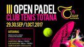 El III Open de Padel club de tenis Totana tendrá lugar el fin de semana del 29 de septiembre al 1 de octubre