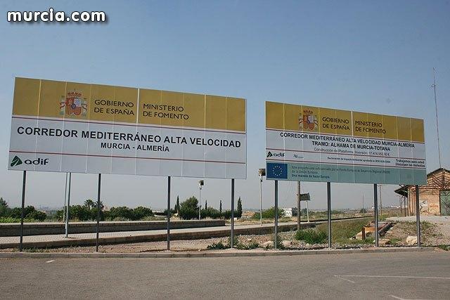 El BORM publica el anuncio de Adif por el que se somete a información pública, a efectos de expropiaciones, el Proyecto de construcción de plataforma del Corredor Mediterráneo de AVE Murcia-Almería en el tramo Sangonera-Lorca, Foto 1