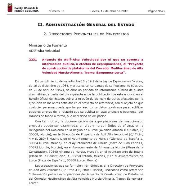 El BORM publica el anuncio de Adif por el que se somete a información pública, a efectos de expropiaciones, el Proyecto de construcción de plataforma del Corredor Mediterráneo de AVE Murcia-Almería en el tramo Sangonera-Lorca, Foto 2