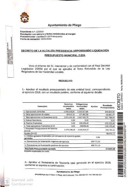 El Ayuntamiento de Pliego finalizó 2018 con una buena situación económica logrando un superávit de más de 270.000€ - 1, Foto 1