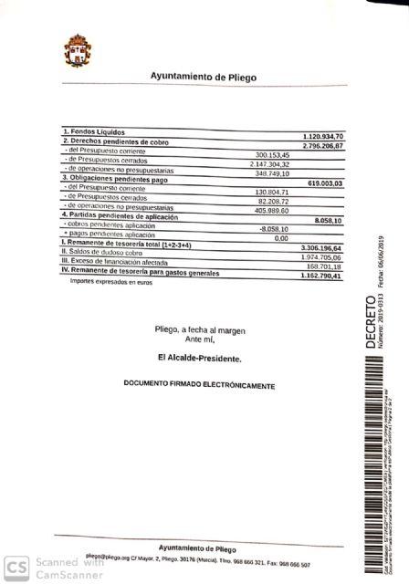 El Ayuntamiento de Pliego finalizó 2018 con una buena situación económica logrando un superávit de más de 270.000€ - 2, Foto 2