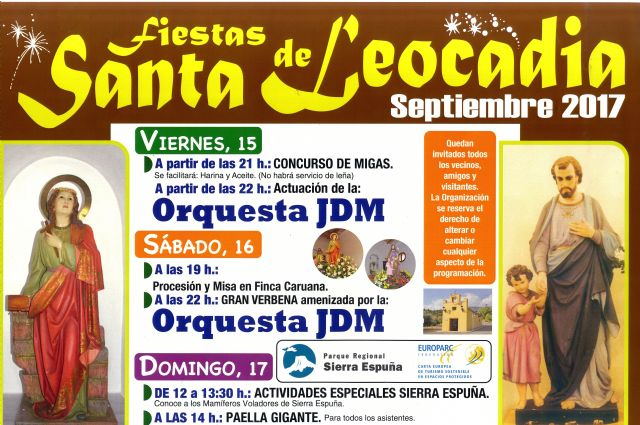The fiestas of Santa Leocadia in the deputation of La Sierra are celebrated this next weekend, from the 15 to the 17 of September - 2