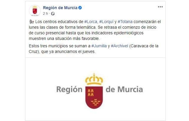 Los centros educativos de Totana, junto a los de Lorca y Lorquí, comenzarán el lunes las clases de forma telemática - 2, Foto 2