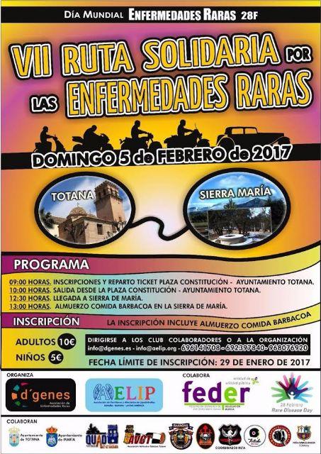 El 5 de febrero tendrá lugar VII Ruta Solidaria por las Enfermedades Raras, entre los municipios de Totana y María, Foto 1